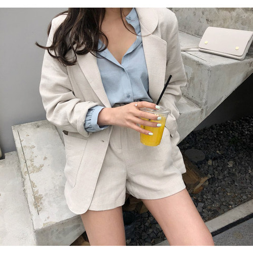 Opening linen jacket ; 5 color