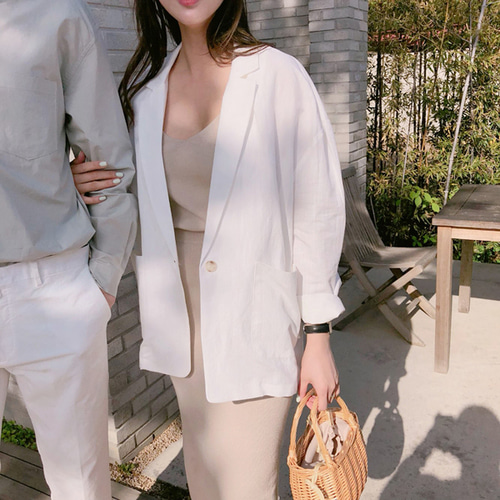 Cinnamon linen jacket ; 3 color