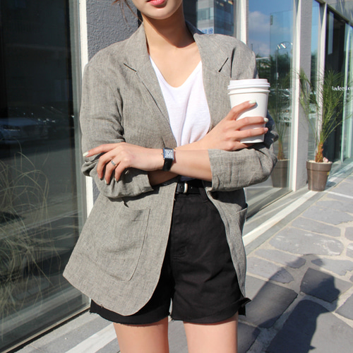 Linen herringbone jacket