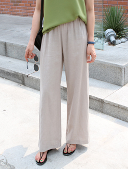 Linen wide pants ; 2 color