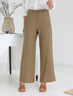 Simple linen wide pants ; 2 color