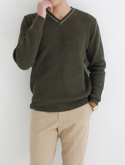 (M) Hey v-neck knit ; 3 color