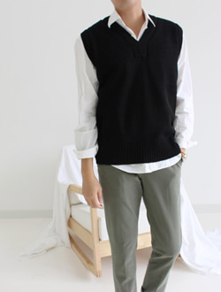 (M) Knit vest ; 4 color
