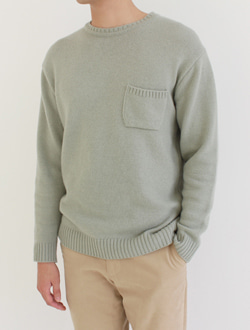 (M) Pocket knit ; 2 color