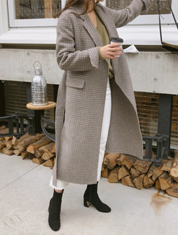 Slit handmade coat ; 2 color