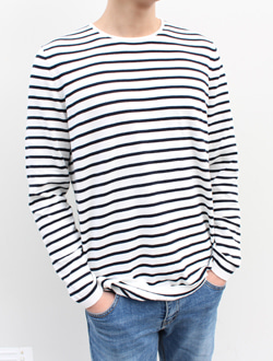 (M) Boxy stripe knit ; 3 color